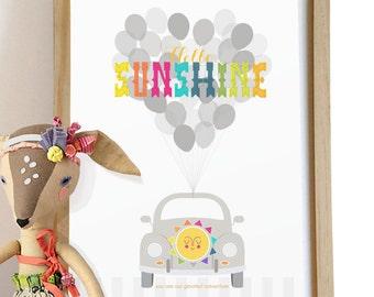 Hello Sunshine Love Bug Typography Print colorful retro modern nursery wall art print . children decor