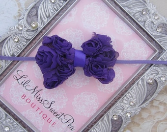 Purple rosette bow headband - 2.75 inch purple chiffon bow on skinny elastic by Lil Miss Sweet Pea