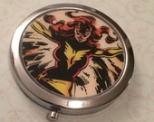 ON SALE Metal Compact Mirror made from Upcycled Dark Phoenix Comic Book Artwork, X-Men, Jean Grey