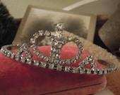 Vintage Cute Small Rhinestone Heart Bridal Diadem / Silver Tone Metal Crown / Wedding Headpiece / Pageant Crown / Tiara