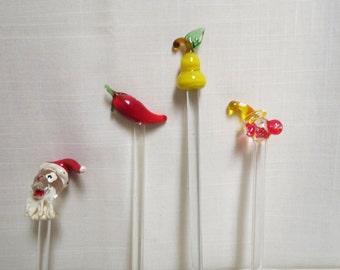 Vintage Glass Swizzle Sticks Advertising Advertisement Barware Santa Claus Hot Pepper Pear Clown Lamp Work