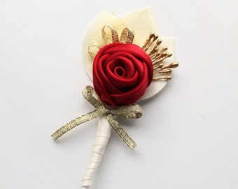 Red Gold Ivory Boutonniere/ Wedding Lapel Pin/ Handmade Wedding Accessory
