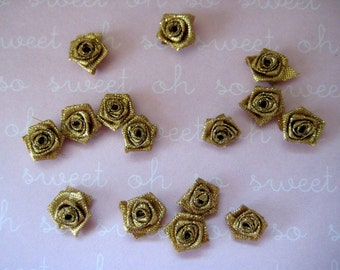 Small Metallic Gold Flowers Rosettes Appliques 1/2 inch for Sewing, Crafting, Scrapbooking, Embellishment, Hair Accessories, 35 or 55 pieces
