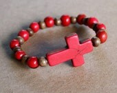 Side cross bracelet -  RED - Acai , Howlite Cross and Brown Beads-  Versatile, Stackable