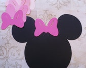 DIY Pin the Bow on Minnie Mouse Game Black Head Shape Mixture Pink Bows Die Cuts Birthday Party Wall Door Decorations