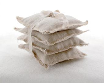 Beige Linen Organic Lavender Mini Sachets- Set of 4