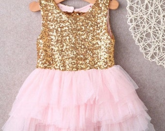 Baby Girl  pink and  gold Tutu,Pink Glitter Tulle Dress, Birthday Girl Dress, Toddler Dress, Girl Sequined Dress