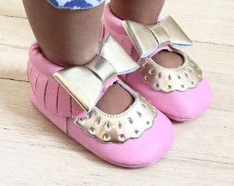 Baby Girl pink and Gold  crib shoes soft sole PU Leather Newborn Baby Girl Kids Shoes Infant