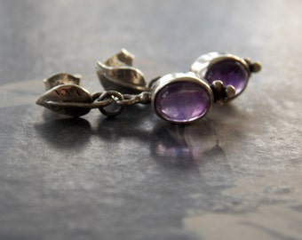 Amethyst Earring Sterling Silver Posts, Leaf Posts, Dainty, Minimalist, Woodland, Dangle drop Earrings, Fall Earrrings, February Birthstone