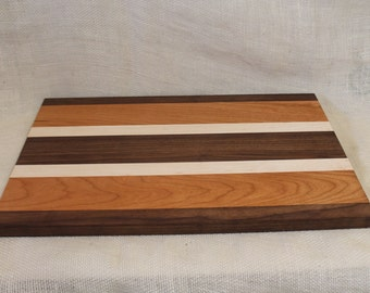 Walnut, Cherry and Maple Hardwood Cutting Board or Carving Board