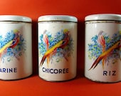 SALE! Retro French Storage Tins, Farine Chicoree and Riz, Bird of Paradise Flowers Shabby Chic Kitchen Canisters 1950s
