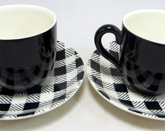 SALE! 2 Mid Century Check Demitasse Duos, Retro Myott Pottery 'Checkers' Black White Monochrome Coffee or Small Tea Cup & Saucer Set 1950s