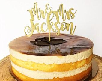 Wedding Cake Topper Gold Wood Custom Name Paper CakeTopper   -  Shower/Wedding/Cake Decoration