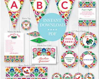 INSTANT DOWNLOAD Fiesta Baby Shower Package, Mexican Theme Baby Shower, Fiesta Party Printables, Fiesta Baby Decorations, Fiesta Supplies