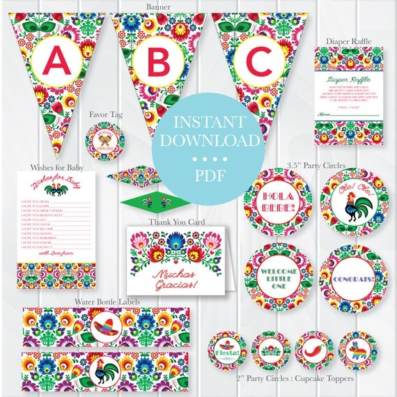INSTANT DOWNLOAD Fiesta Baby Shower Package Mexican Theme