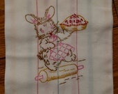 Hand embroidered Spring Baking Bunny Dish Towel