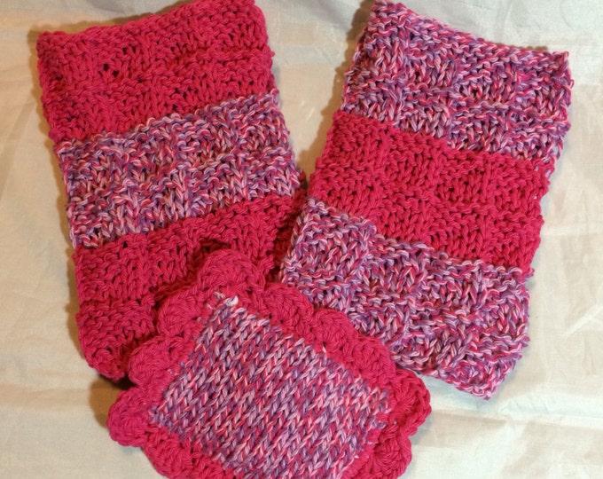 Knit Dishcloth / Knit Scrubbies /  Knit Washcloth / Set of 3 / Dish Scrubbies