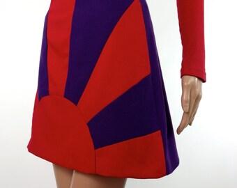 HUZZAR DESIGN Sunray Sample Mini Skirt In Red And Purple Crepe