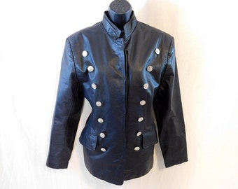 Vintage  80s military style  Black Leather Jacket with double row buttons.Virginia Slims V Wear