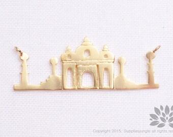 "P763-MG// Matt Gold Plated ""The Taj Mahal"" Castel Pendant, 2 pcs"