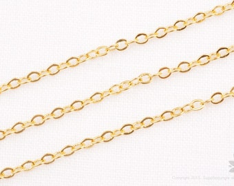 C120-G// 14k Gold Plated Small Cable Chain, 3M