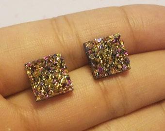 Druzy Earrings - Magenta Druzy Stud Earrings - Earrings under 10