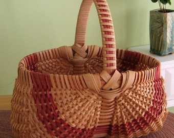Woven Egg Basket with Red Accent