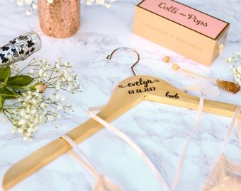 1 - Personalized Wedding Dress Hanger with Wedding Party Title Arm Inscription - Engraved Wood