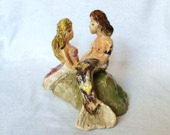 Unique Studio Pottery Mermaid figurine lovers porcelain signed Jean Mcelvane Vintage