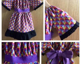 Hippie/Boho Style Fall/Winter Cotton Short Sleeve Peasant Dress, size 2t