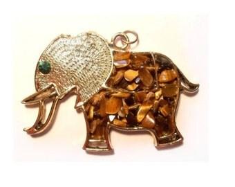 SALE Vintage Elephant Pendant Tigers Eye Chip Stone Retro 1970's