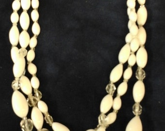 Vintage 1950s milk glass/crystal 3-strand bead  necklace