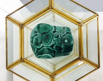 Vintage Glass and Brass Box with Malachite Stone, XL