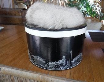 Large Vintage Round Hat Box Woodward  Lothrop - Washington, DC & Elders of Dayton hat
