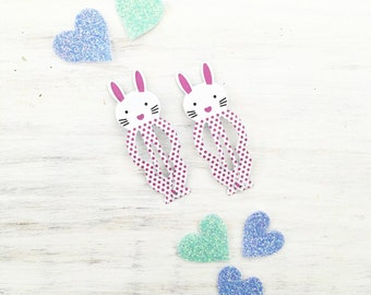 White Bunny hair snap clips - cute - pastel - kawaii