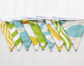 Boys Blue Green Yellow Bunting, Birthday Banner, Fabric Flags, Baby Shower, Garland