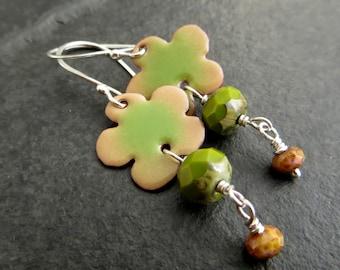 Enamelled Pansy Earrings, Pale Green and Brown Flowers, Beaded Flower Earrings, Enamel Jewellery, Torch Fired Enamel, Silver and Copper, UK