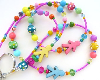 CHEERFUL CHILDREN- Beaded ID Lanyard- Sparkling Crystals, Wood, Resin, and Turquoise Beads (Magnetic Clasp)