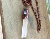 Quartz Crystal and Amethyst Pendant   Boho Pendant       Electroformed Copper and Crystal Pendant   item 1579
