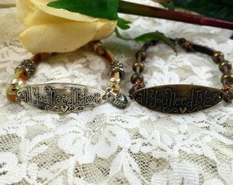 Leather Bracelet  Inspirational Quote Bracelet All You Need is Love    Layering Bracelet   Boho Bracelet item 239