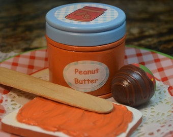 Pretend Food Wood Peanut Butter and Bread Play Food Pretend Kitchen