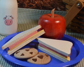 Play Food Wood Toy Bologna Sandwich Apple Drink and Cookies Pretend Lunch