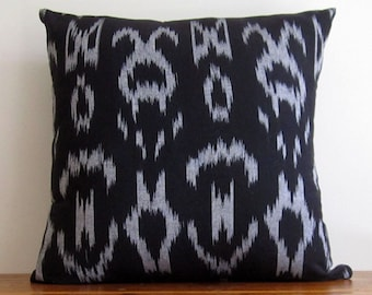 Ikat Cushion Cover Black and Grey. Beautiful Handmade Boho Gypsy Throw Pillow Cover