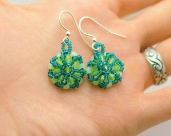 Mandala Earrings - Swarovski Crystals - Emerald Green and Sea Foam Green - Hand Woven