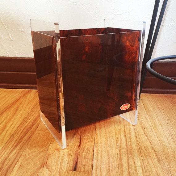 karmel lucite trash can amber burl wood acrylic waste basket