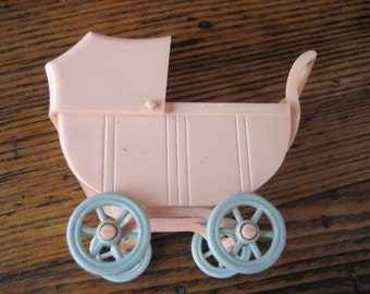 Renwal Dollhouse Baby Carriage with Baby Insert #115 Pink w Blue Wheels 1950s