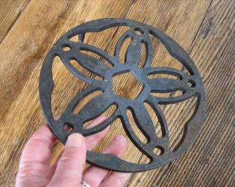 Vintage Cast Iron Footed Trivet Round 6.5 Inches Flower Form Made in Brazil