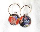 NASCAR Dale Earnhardt  Recycled Vintage Tin Earrings 1996 Winston Cup Tin Collector Box, Race Car Earrings ala Ear Art!