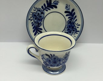 Delft Blue D A I C Demitasse Cup and Saucer Hand painted
