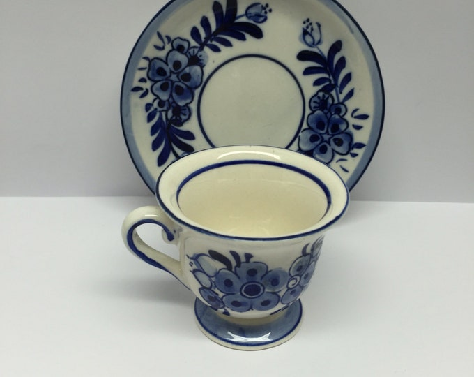 Featured listing image: Delft Blue D A I C Demitasse Cup and Saucer Hand painted